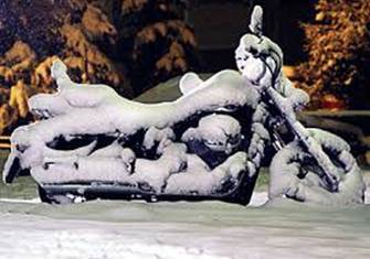 MOTORCYCLE COVERED SNOW