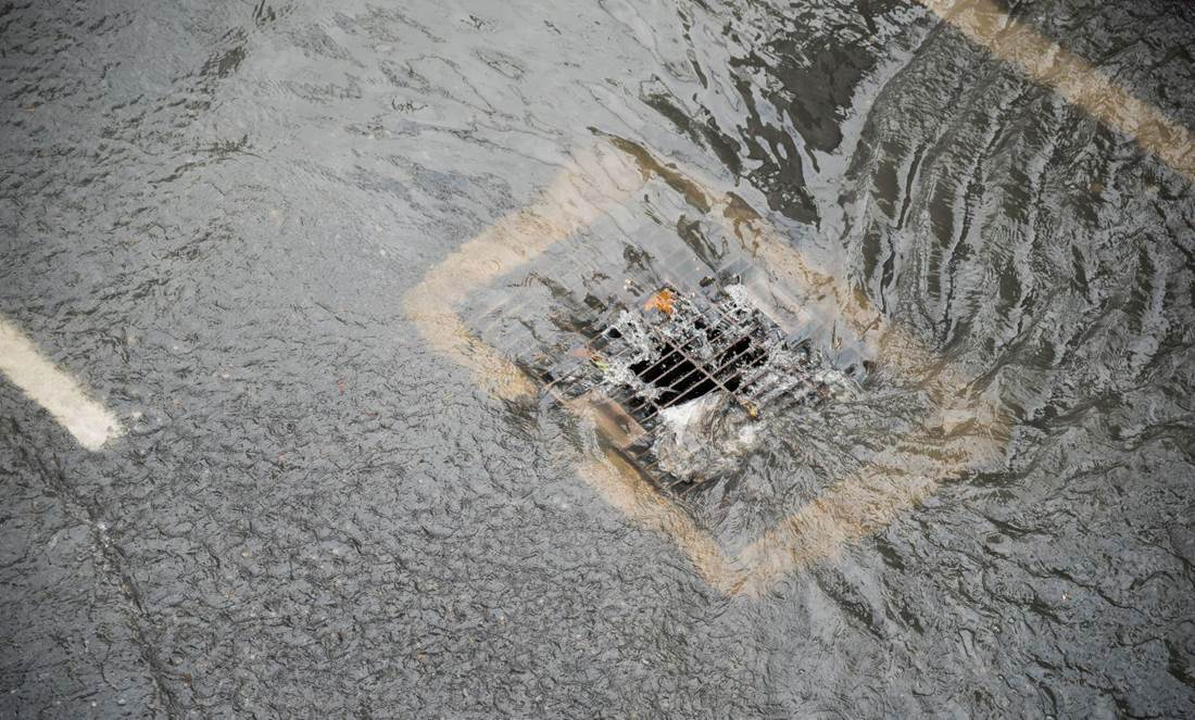 Storm Drain During Flood