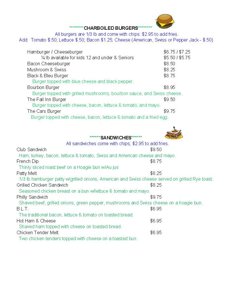 The Fall Inn Bar & Grill Menu - Page 2
