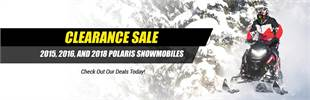 Clearance Sale on 2015, 2016, and 2018 Polaris Snowmobiles: Click here to view the models.