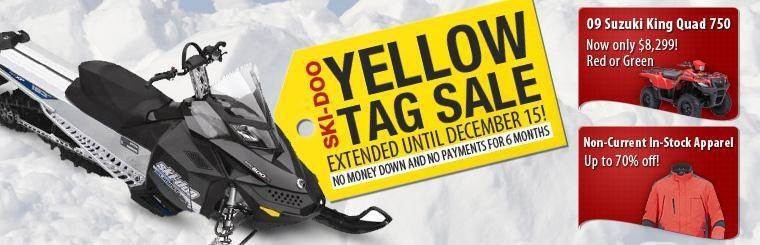 The Ski-Doo Yellow Tag Sale has been extended until December 15! Get no money down and no payments for six months! Click here to browse the showcase.