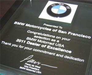 2011 Dealer of Excellence Award