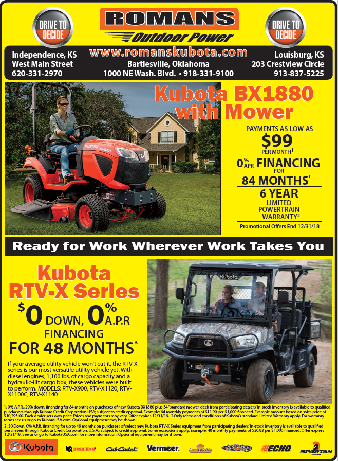 Kubota Mower Special Oct 2018