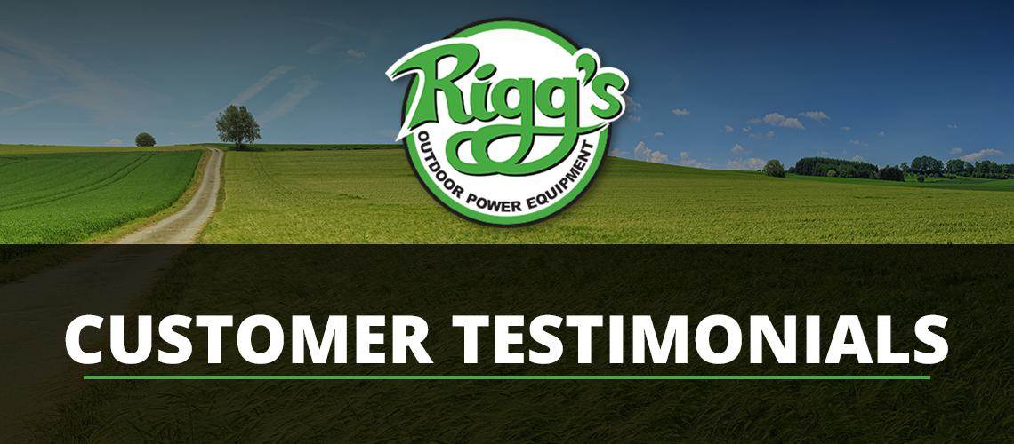 Riggs Outdoor Power Equipment logo on a field