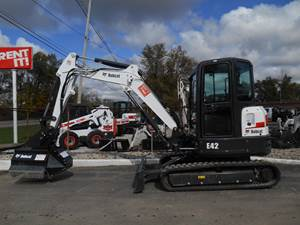 Bobcat E42 mini excavator with flail mower