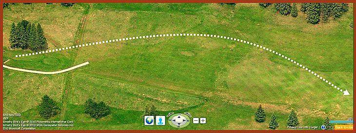 satellite view predicting the accurate shot for hole 3