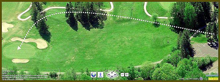 satellite view predicting the accurate shot for Hole10