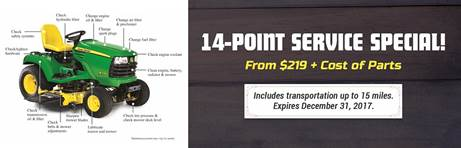 Our 14-Point Service Special starts at $219 (plus cost of parts)! This offer includes transportation up to 15 miles and expires December 31, 2017.