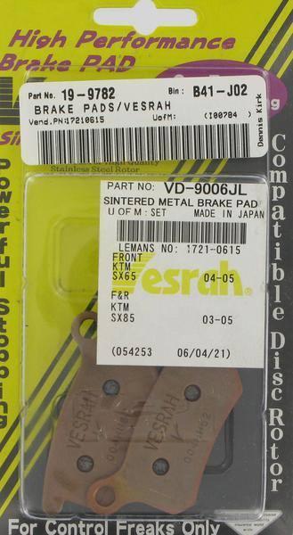 VESRAH VD-352JL SINTERED METAL BRAKE PADS Sintered//Metal VD-352JL 970735