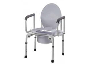 STEEL DROP-ARM COMMODE WITH PADDED ARMREST