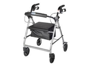 ROLLATOR 4-WHEEL WITH POUCH & PADDED SEAT