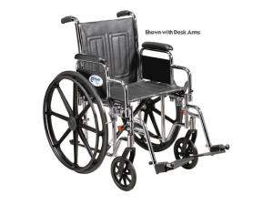 "WHEELCHAIR STD 16"" FIXED ARMS W/SWINGAWAY FOOTREST"