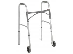 "TWO BUTTON FOLDING WALKER WITH 5"" WHEELS"