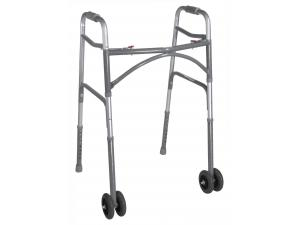 BARIATRIC ALUM. FOLDING WALKER, TWO BUTTON, WHEELS
