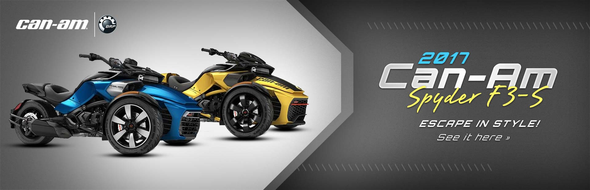 Escape in style with the 2017 Can-Am Spyder F3-S! Click here to view our selection.