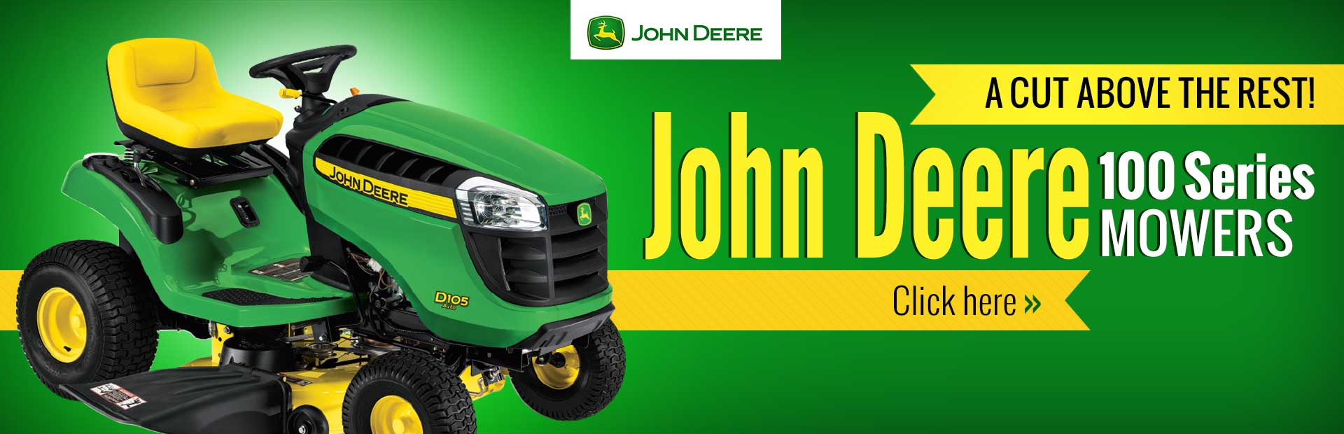 John Deere 100 Series Mowers: Click here to view our selection.