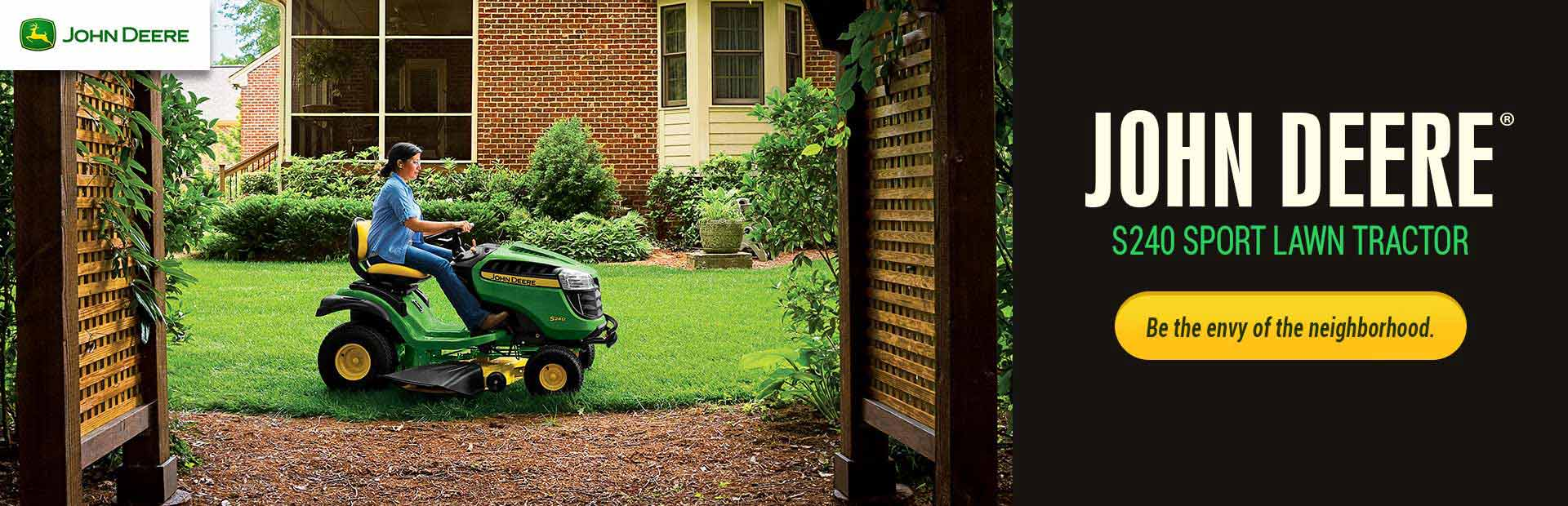 Be the envy of the neighborhood with the John Deere S240 sport lawn tractor! Click here for details.
