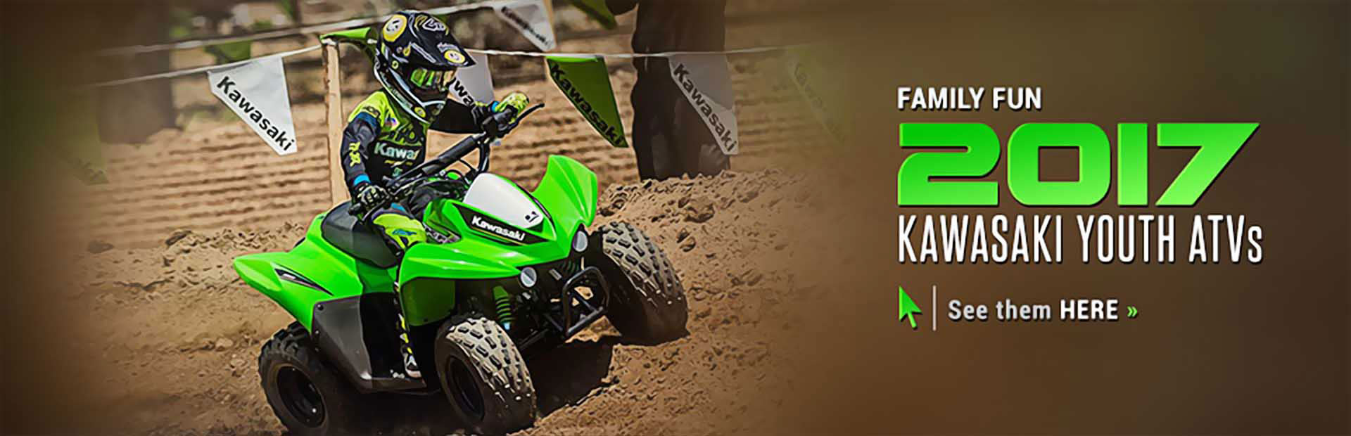Click here to view the 2017 Kawasaki youth ATVs!