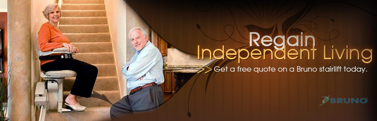 Regain your independent living! Call us to get a free quote on a Bruno stair lift today.