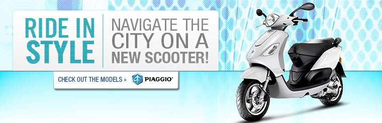 Ride in style and navigate the city on a new Piaggio scooter! Click here to check out the models.