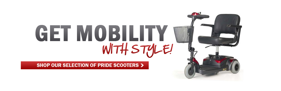 Get mobility with style! Click here to shop our selection of Pride scooters.