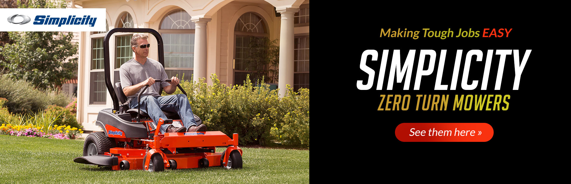 Click here to view our selection of Simplicity zero turn mowers!