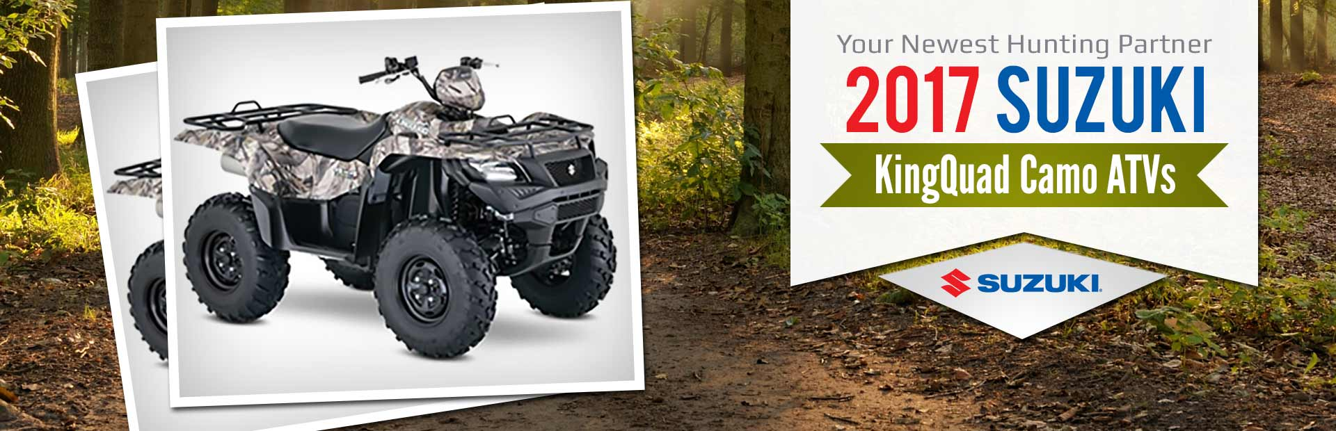 2017 Suzuki KingQuad Camo ATVs: Click here to view the lineup.