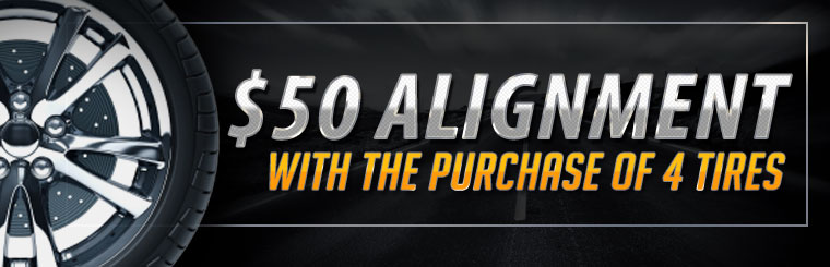 Get a $50 alignment with the purchase of four tires! Click here for the coupon.