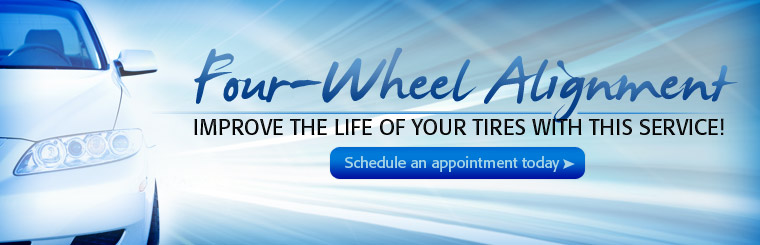 Improve the life of your tires with a four-wheel alignment! Schedule an appointment today at Baumgart Tire & Wheel.