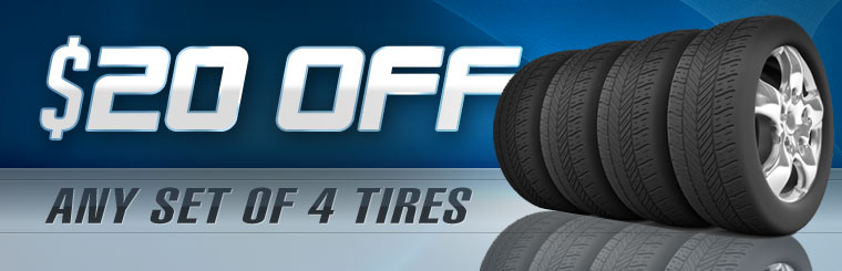 Get $20 off any set of four new tires! Click here for the coupon.