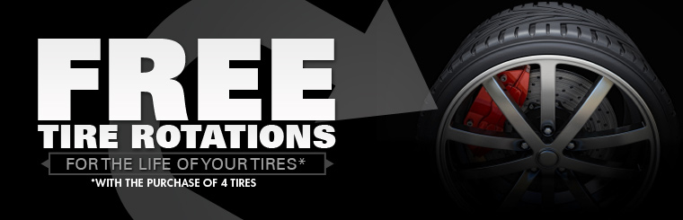 Purchase four new tires and receive free rotations for the life of your tires! Click here for the coupon.