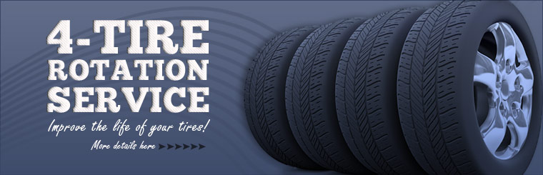Improve the life of your tires with our four-tire rotation service. Click here for details.