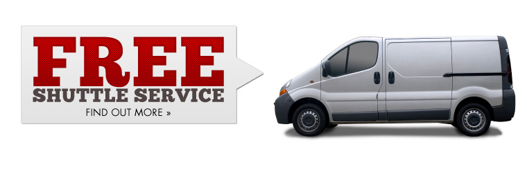 We offer free shuttle service. Click here to find out more.