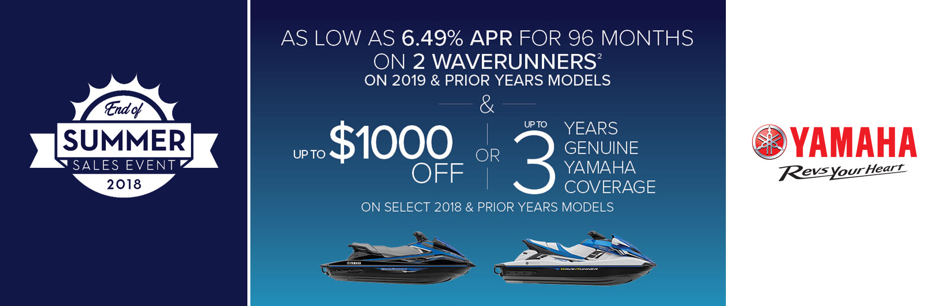 Yamaha: As Low As 6.49% APR For 96 Months