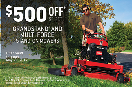 $500 Off Select GrandStand Multi-Force Mowers
