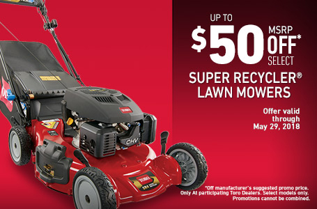 $50 Off Select Super Recycler Mowers