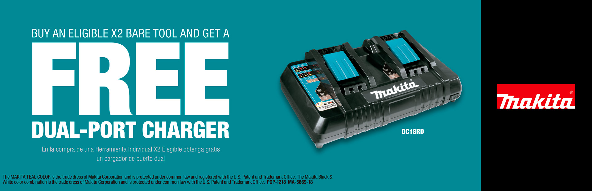Makita: BUY A X2 BARE TOOL AND GET A DUAL-PORT CHARGER