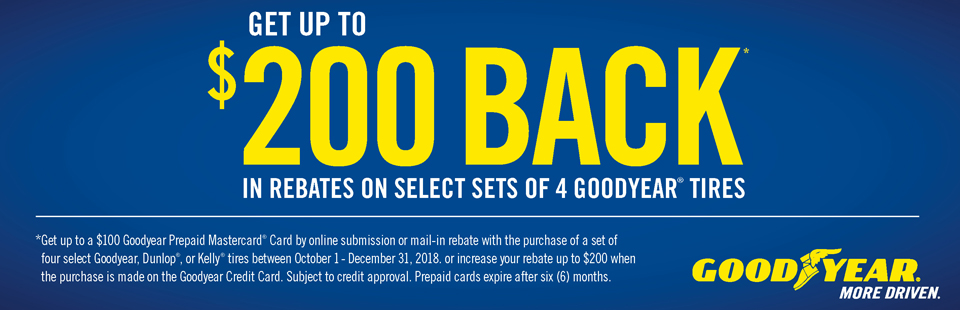Get Up To $200 Back On Select Goodyear Tires