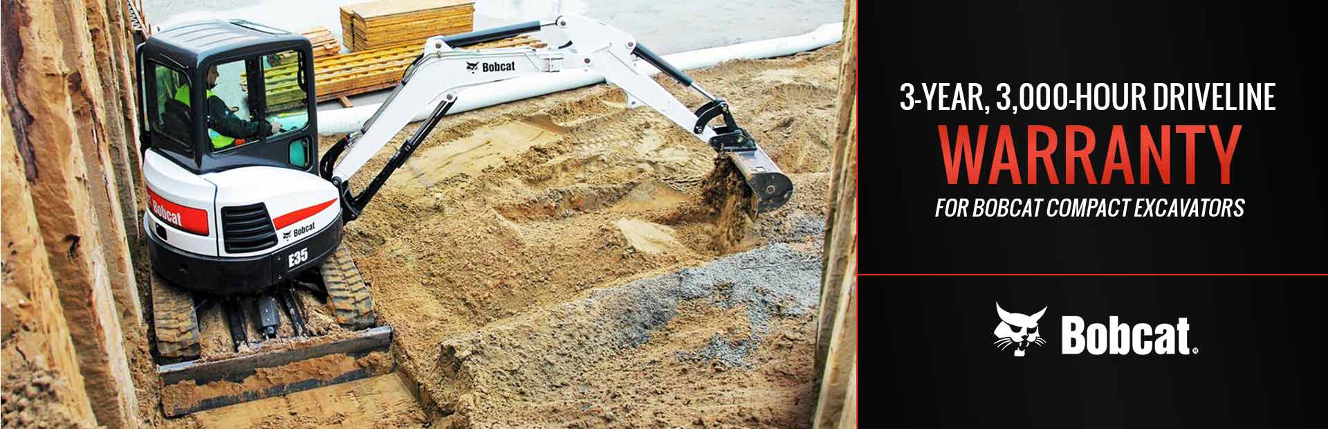 Bobcat: 3Yr 3KHr Driveline Warranty for Compact Excavators