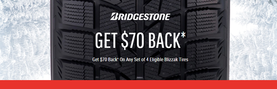 $70 Back on Any Set of 4 Eligible Blizzak Tires
