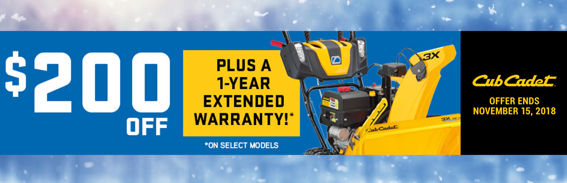 Cub Cadet: $200 Off Eligible Snow Throwers!