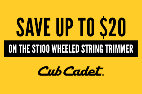 SAVE UP TO $20 ON THE ST100 WHEELED STRING TRIMMER