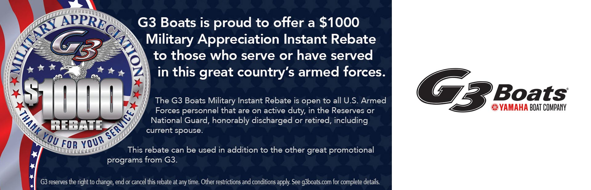 G3: G3 Military Appreciation $1000 Rebate