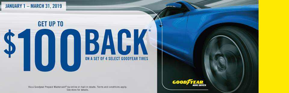 Get Up To $100 Back On Select Goodyear Tires