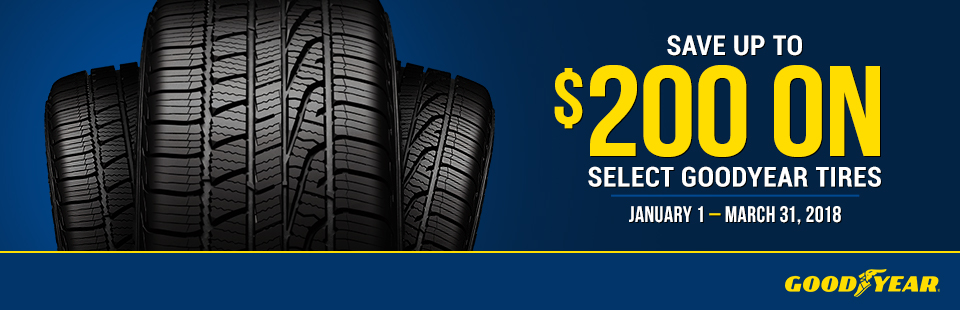 Save up to $200 on select Goodyear Tires