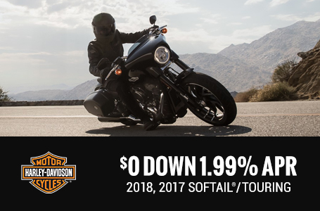 $0 Down 1.99% APR - 2018, 2017 Softail®/Touring