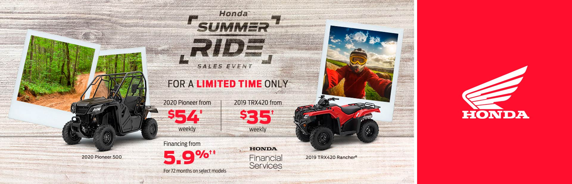 Honda: Summer Ride Sales Event - atvs/sxs