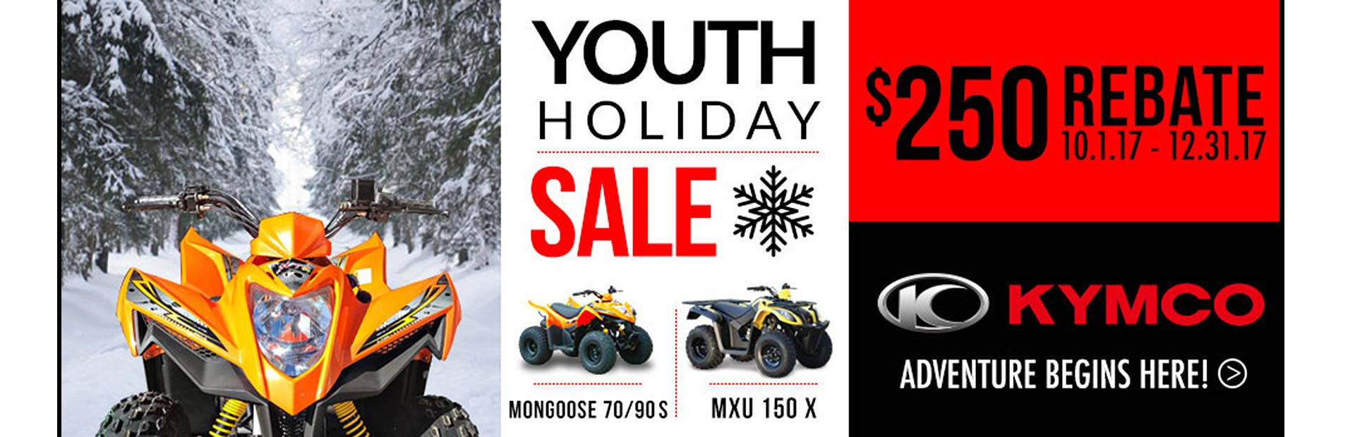 KYMCO: Youth ATV Holiday Season Sales Program