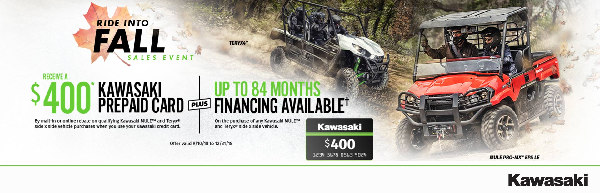 Kawasaki: $400* Prepaid Card with Qualifying Side x Side