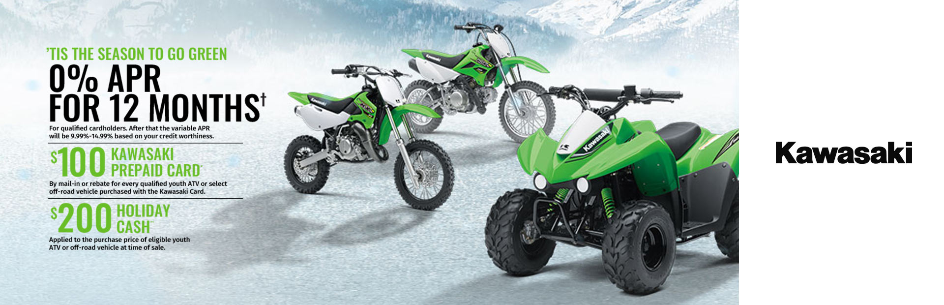 Kawasaki: Kawasaki Holiday Savings - Youth ATVs, Off-Road